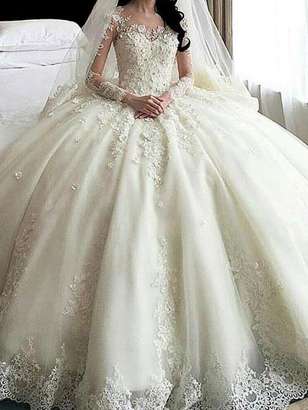 Perfect Ball Gown Scoop Cathedral Train Long Sleeves Lace Tulle Wedding Dress