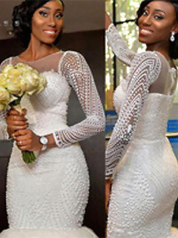 Stunning Mermaid Long Sleeves Scoop Sweep/Brush Train Tulle Wedding Dress