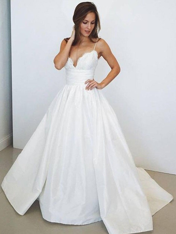 Perfect Ball Gown Sleeveless Spaghetti Straps Satin Sweep/Brush Train Wedding Dress