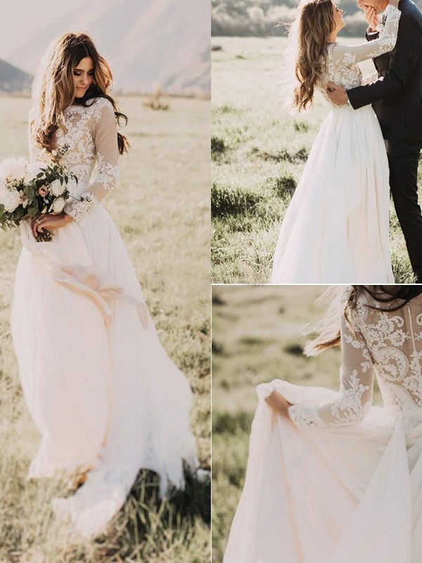 Fashion A-Line Tulle Scoop Long Sleeves Sweep/Brush Train Wedding Dress