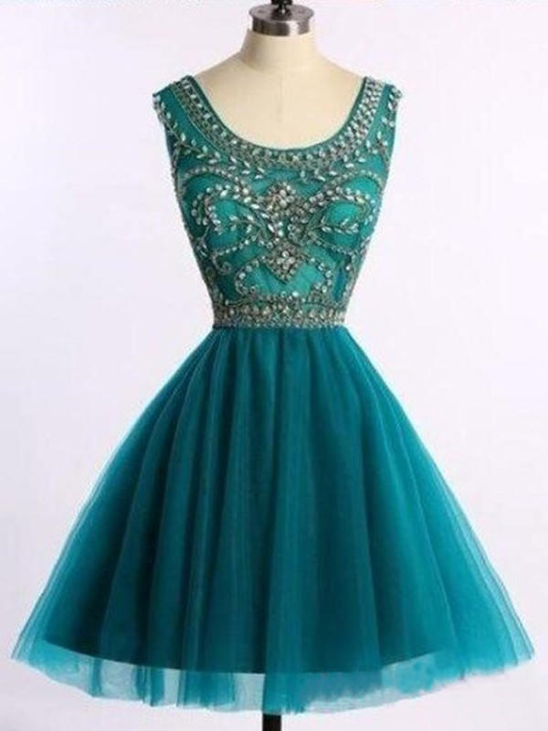 Exquisite A-Line Scoop Tulle Short Dress