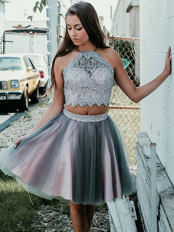 Discount A-Line Halter Tulle Short Two Piece Dress