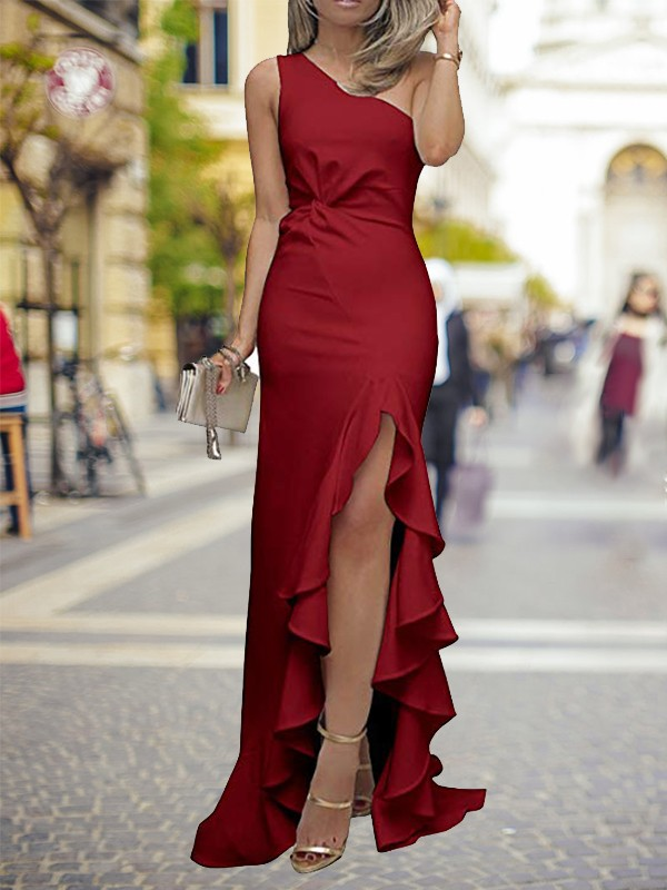 Chic Sheath One-Shoulder Sweep/Brush Train Satin Dress