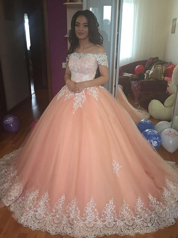 Cheap Ball Gown Sleeveless Off-the-Shoulder Court Train Tulle Lace Dress