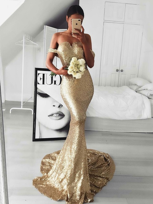 Nice Mermaid Sleeveless Off-the-Shoulder Sweep/Brush Train Sequins Dress