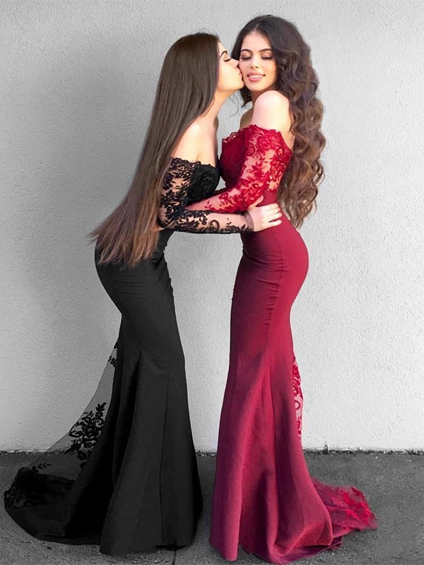 Glamorous Mermaid Long Sleeves Off-the-Shoulder Sweep/Brush Train Satin Dress