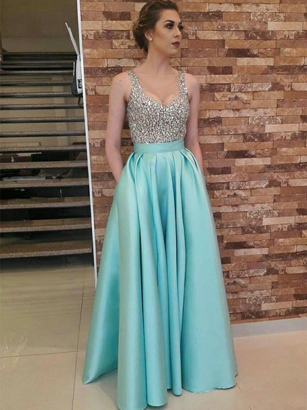 Nice A-Line Sleeveless V-neck Floor-Length Satin Dress