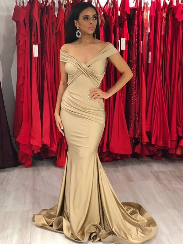 Elegant Mermaid Sleeveless Off-the-Shoulder Sweep/Brush Train Satin Dress