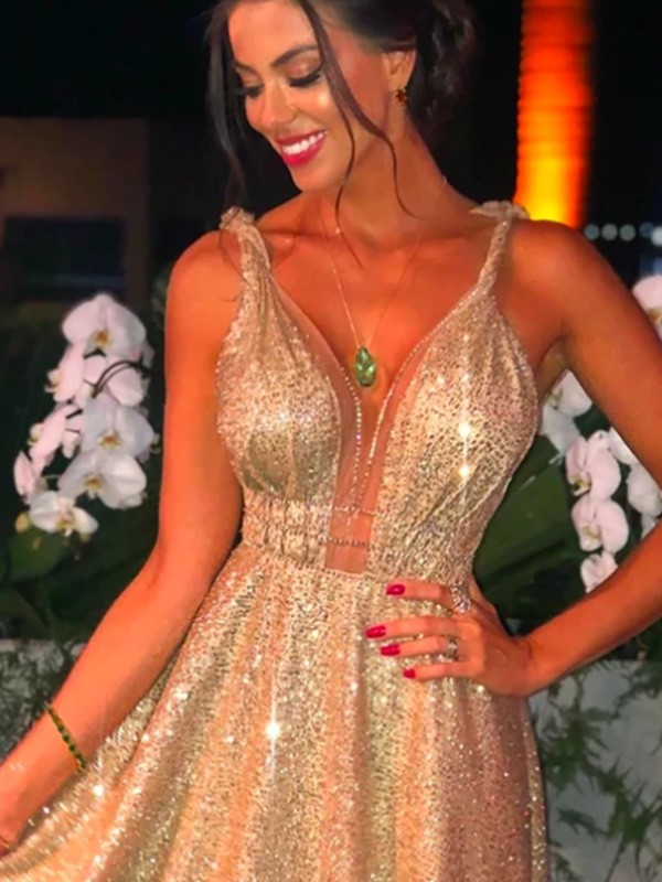 Glamorous A-Line Sequins Straps Sleeveless Sweep/Brush Train Dress
