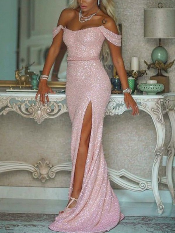Stunning Mermaid Off-the-Shoulder Sequins Sleeveless Sweep/Brush Train Dress