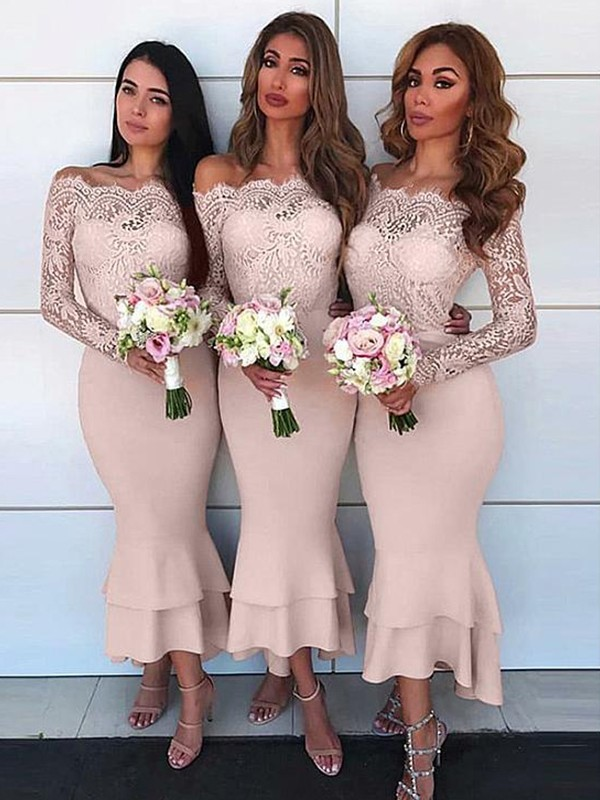 Charming Sheath Off-the-Shoulder Long Sleeves Ankle-Length Chiffon Bridesmaid Dress