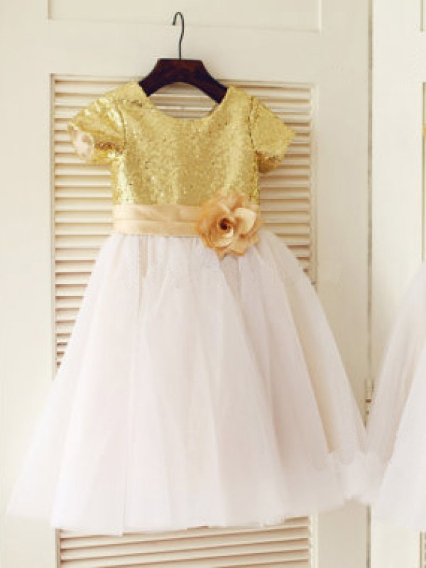 Fashion A-line Scoop Short Sleeves Knee-Length Tulle Flower Girl Dress