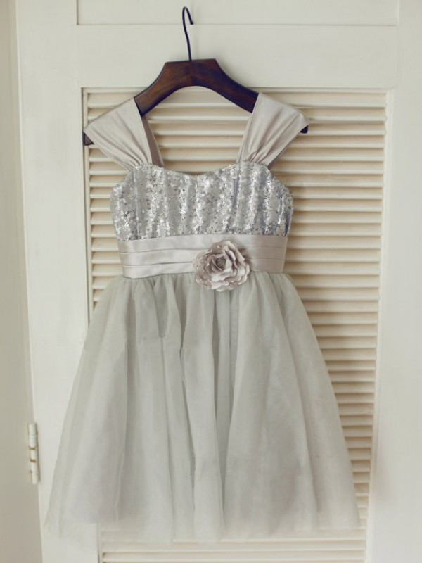 Charming A-line Straps Tea-length Tulle Flower Girl Dress