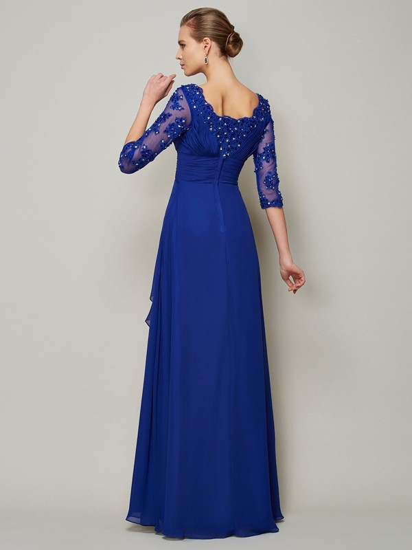 Beautiful A-Line Scoop 3/4 Sleeves Lace Long Chiffon Mother of the Bride Dress