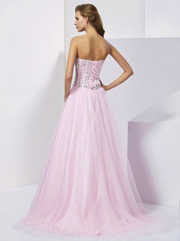 Elegant Ball Gown Sweetheart Sleeveless Long Satin Quinceanera Dress