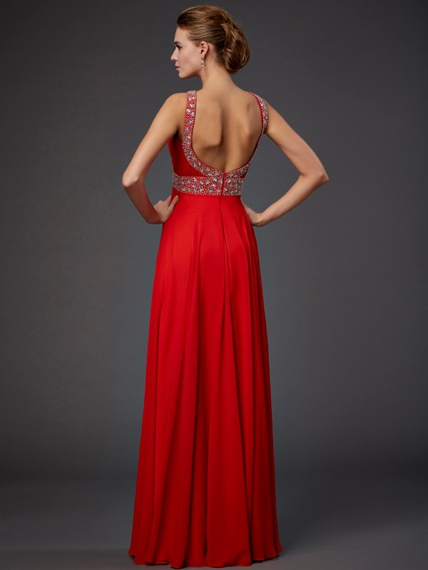 Elegant Sheath Halter Sleeveless Sequin Long Chiffon Dress