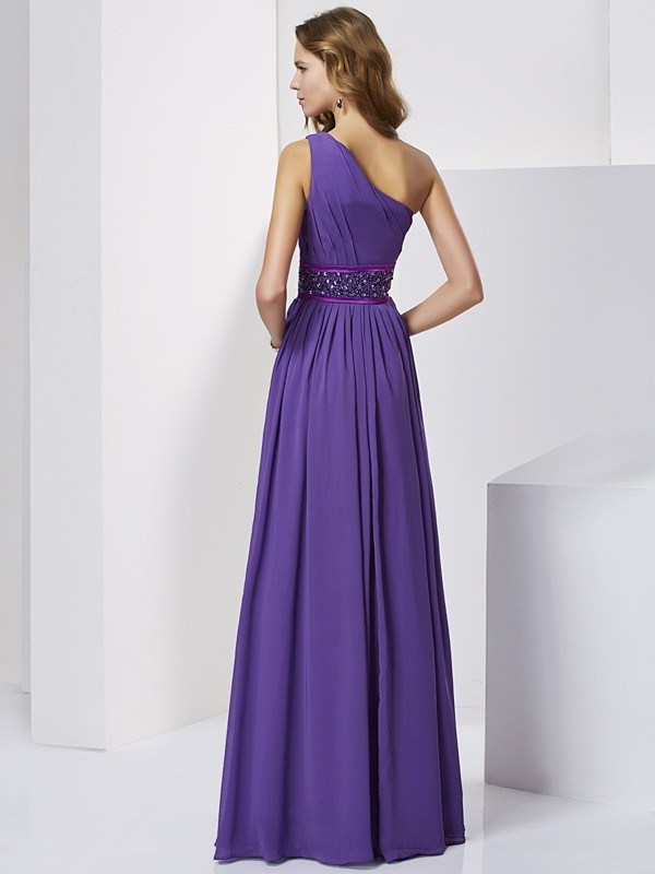 Elegant Empire One-Shoulder Sleeveless Long Chiffon Dress