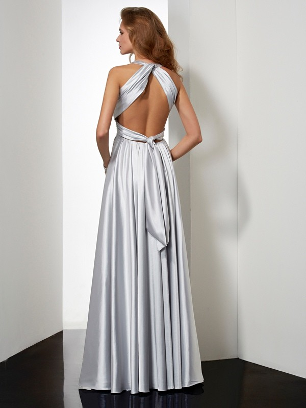 Elegant Sheath Halter Sleeveless Long Elastic Woven Satin Dress