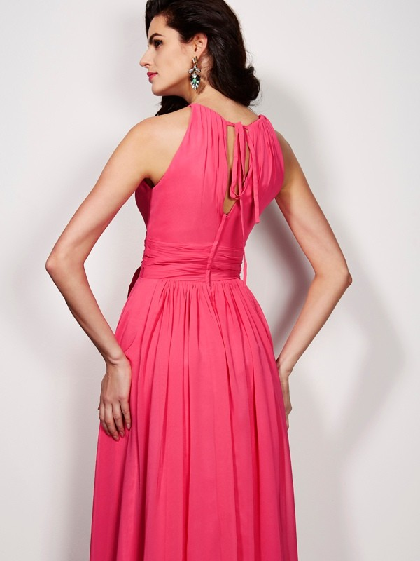 Elegant A-Line High Neck Sleeveless Long Chiffon Dress