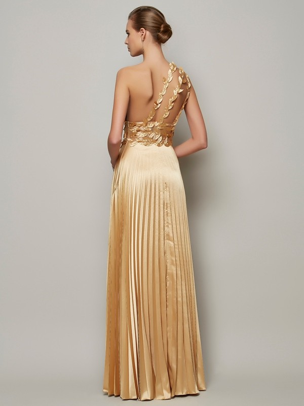Elegant A-Line One-Shoulder Sleeveless Long Elastic Woven Satin Dress