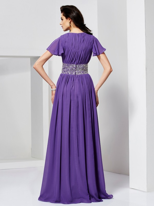 Elegant A-Line V-neck Short Sleeves Long Chiffon Dress