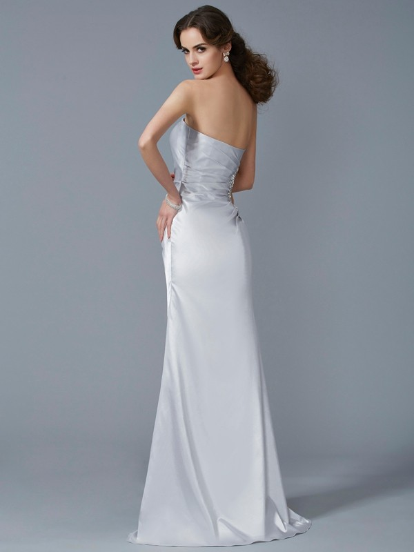 Stylish Mermaid Strapless Sleeveless Long Elastic Woven Satin Dress
