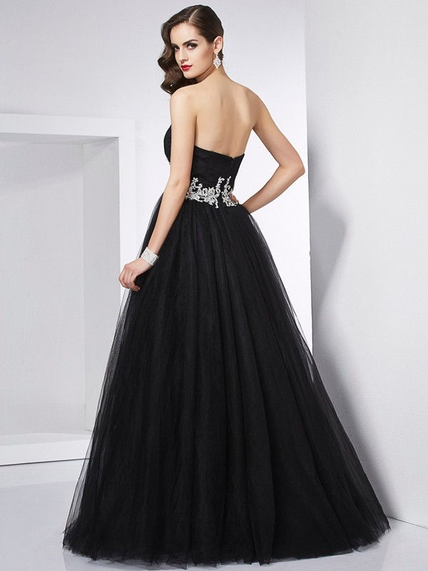 Fashion Ball Gown Sweetheart Sleeveless Long Net Quinceanera Dress