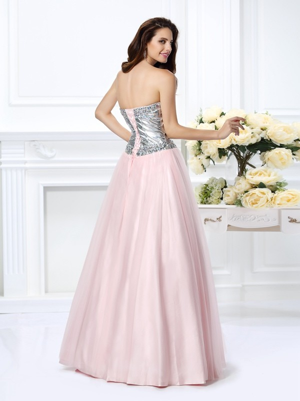 Fashion Ball Gown Sweetheart Sleeveless Long Satin Quinceanera Dress