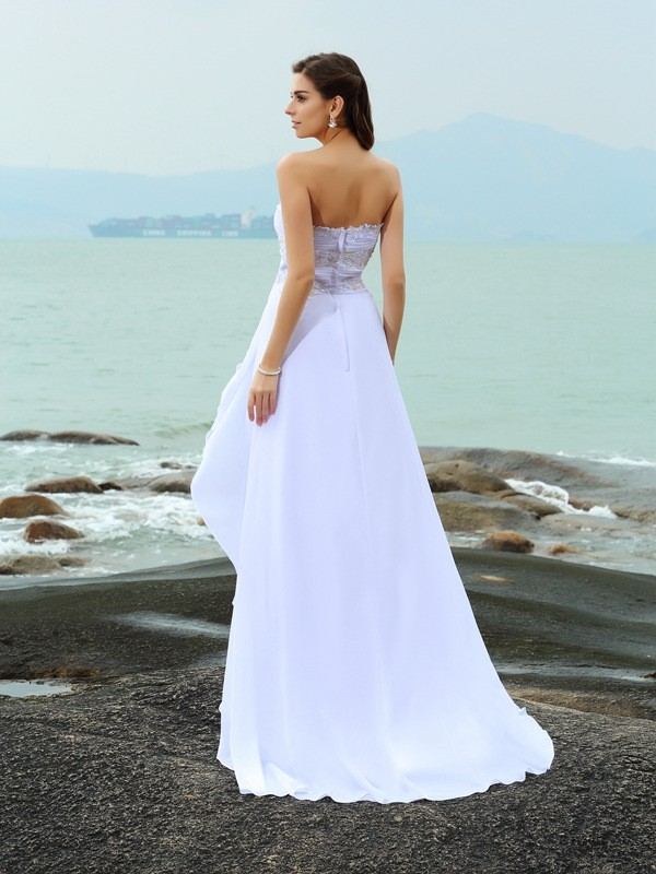 Fashion A-Line Sweetheart Sleeveless Long Chiffon Beach Wedding Dress