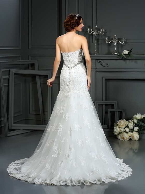 Fashion Mermaid Strapless Sleeveless Long Lace Wedding Dress