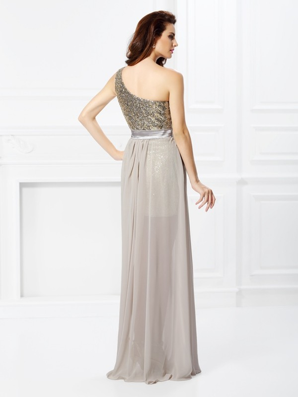 Fashion A-Line One-Shoulder Sequin Sleeveless Long Chiffon Dress