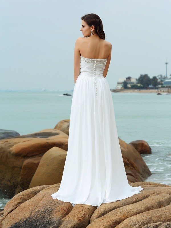 Exquisite A-Line Sweetheart Sleeveless Long Chiffon Beach Wedding Dress