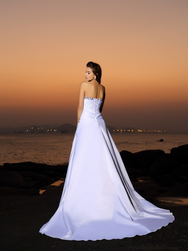 Exquisite A-Line Strapless Sleeveless Long Satin Beach Wedding Dress