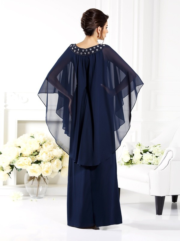 Exquisite A-Line Scoop 3/4 Sleeves Long Chiffon Mother of the Bride Dress