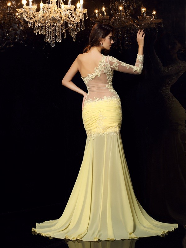 Exquisite Mermaid One-Shoulder Long Sleeves Long Chiffon Dress