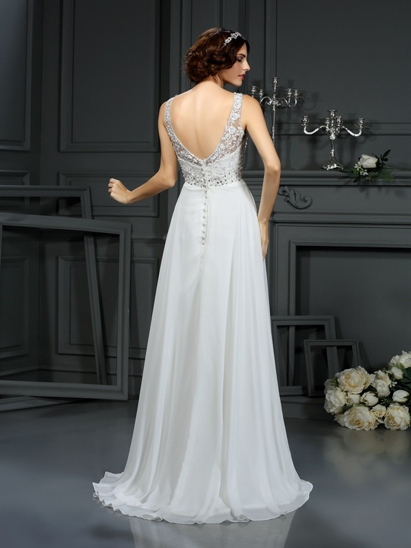 Exquisite A-Line V-neck Lace Sleeveless Long Chiffon Wedding Dress