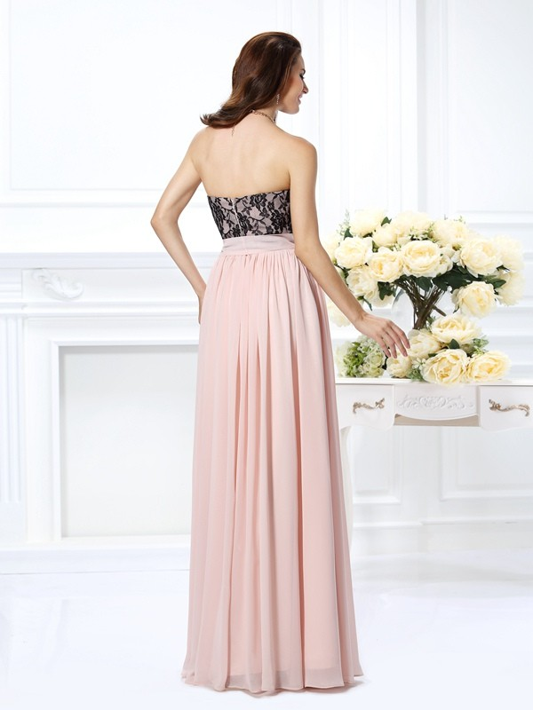 Exquisite A-Line Sweetheart Lace Sleeveless Long Chiffon Dress