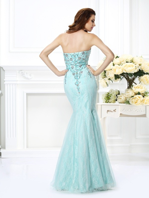 Exquisite Mermaid Sweetheart Lace Sleeveless Long Net Dress