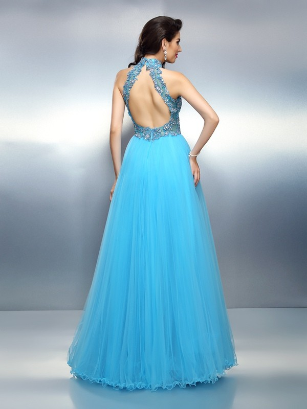 Exquisite A-Line High Neck Sleeveless Long Satin Dress