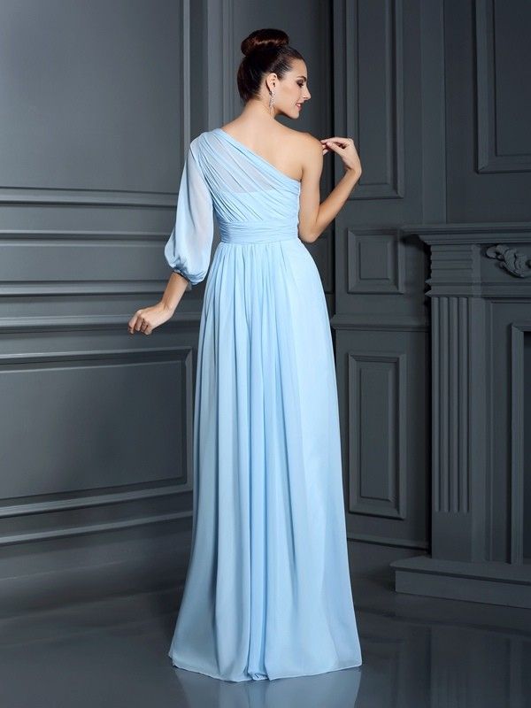 Charming Sheath One-Shoulder 3/4 Sleeves Long Chiffon Bridesmaid Dress