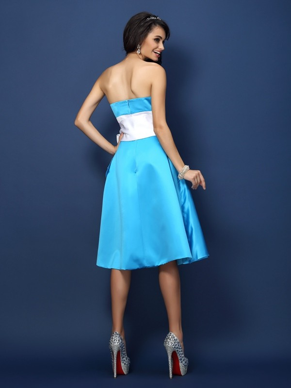 Charming Sheath Strapless Sleeveless Short Satin Bridesmaid Dress
