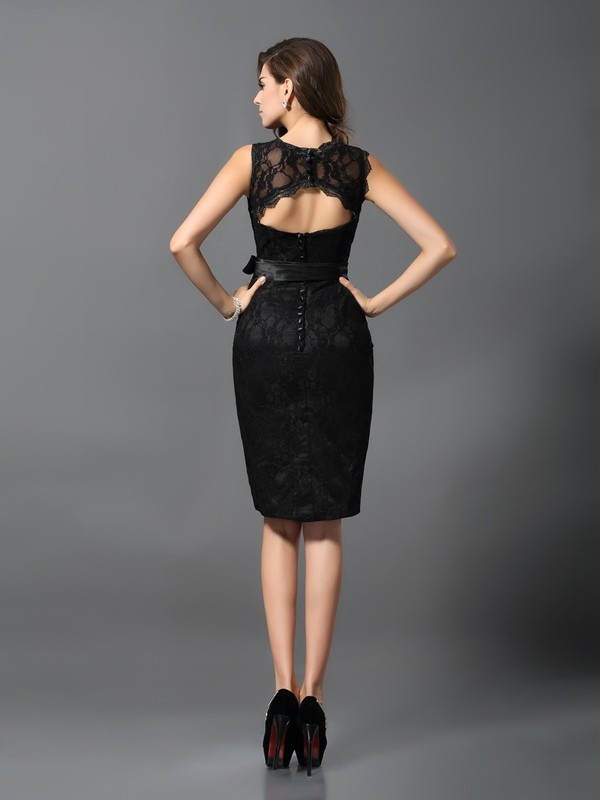 Charming Sheath Jewel Lace Sleeveless Short Satin Cocktail Dress