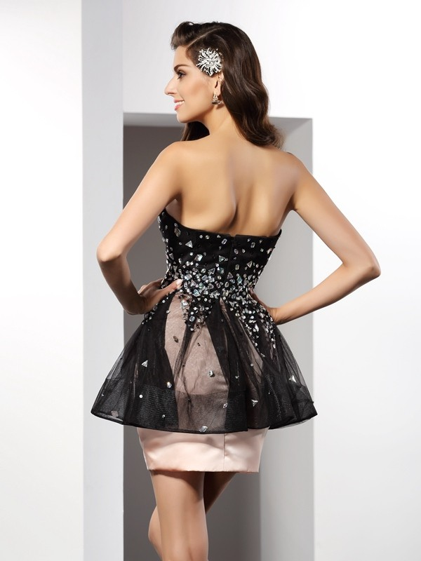 Classical Sheath Sweetheart Sleeveless Short Satin Cocktail Dress