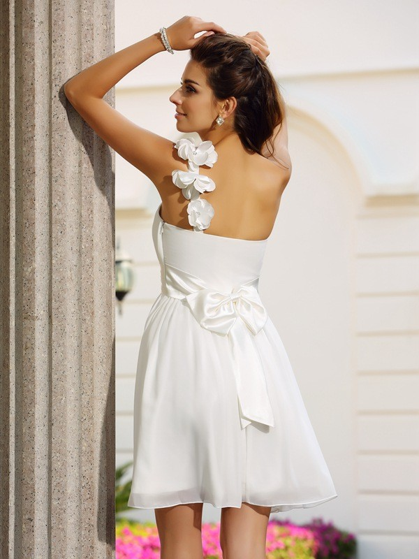Classical A-Line One-Shoulder Sleeveless Short Chiffon Cocktail Dress