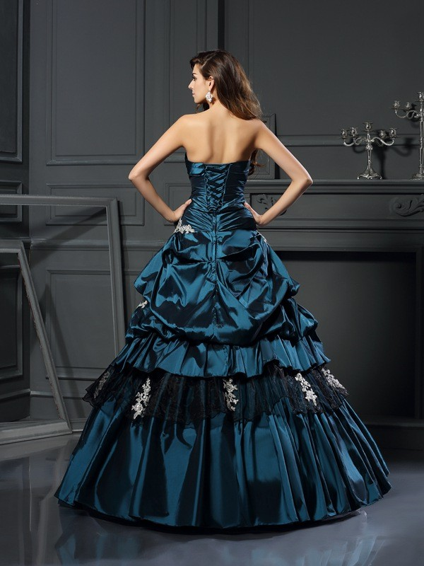 Classical Ball Gown Sweetheart Sleeveless Long Taffeta Quinceanera Dress