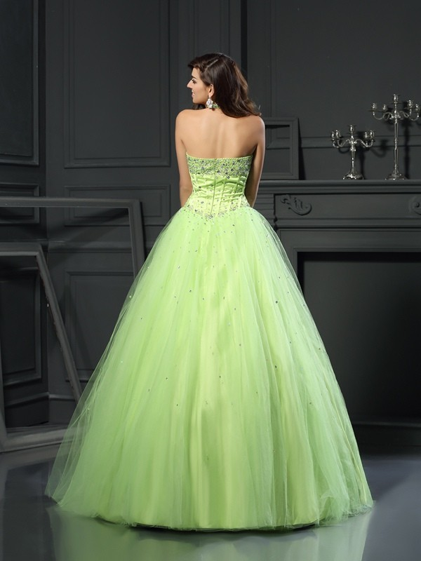 Classical Ball Gown Halter Sleeveless Long Satin Quinceanera Dress