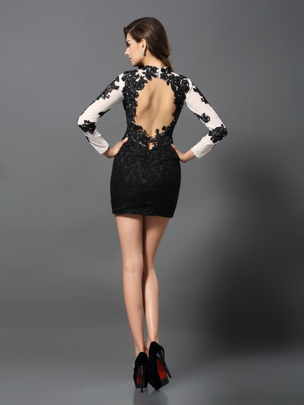 Classical Sheath High Neck Long Sleeves Short Lace Cocktail Dress