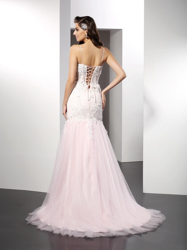 Gorgeous Mermaid Spaghetti Straps Sleeveless Long Tulle Dress