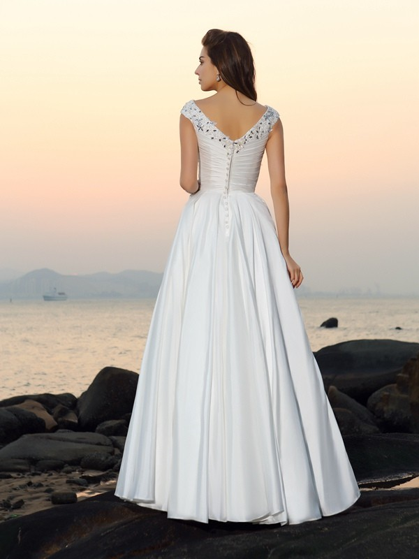 Gorgeous A-Line V-neck Sleeveless Long Taffeta Beach Wedding Dress
