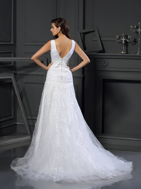 Gorgeous A-Line V-neck Sleeveless Long Satin Wedding Dress
